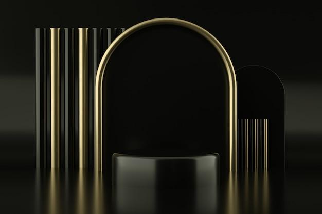 Czarne Podium Ze Złotym łukiem Premium Psd