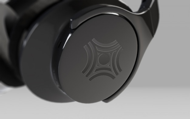 Czarne Słuchawki Na Szaro Premium Psd