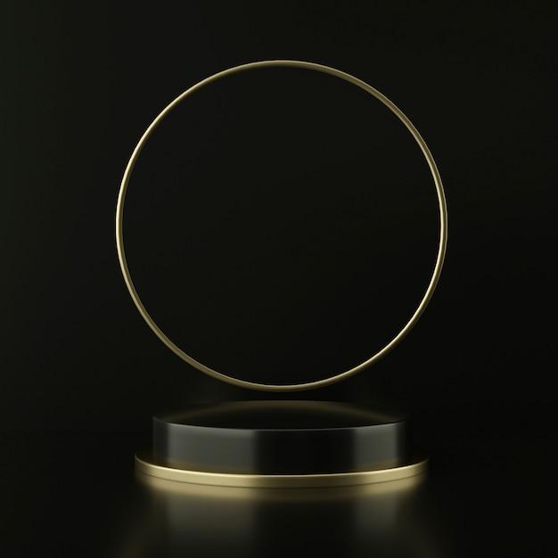 Czarny Cokół Ze Złotym Pływającym Kołem Premium Psd