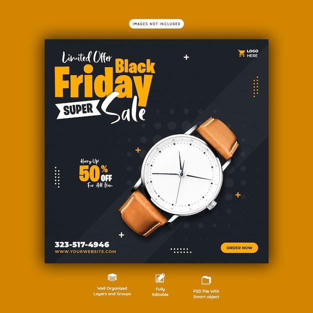 Czarny Piątek Super Sprzedaż Szablon Transparent Mediów Społecznościowych Darmowe Psd