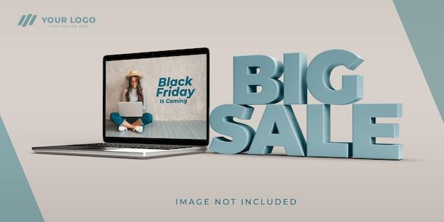 Czarny Piątek Zakupy Online Wielka Wyprzedaż Makieta Projektu 3d Premium Psd