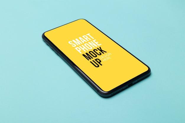 Czarny Smartfon Z Ekranem Na Niebiesko Premium Psd