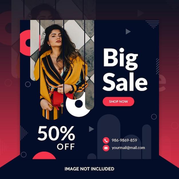 Czarny sprzedaż szablon mediów społecznościowych instagram post Premium Psd