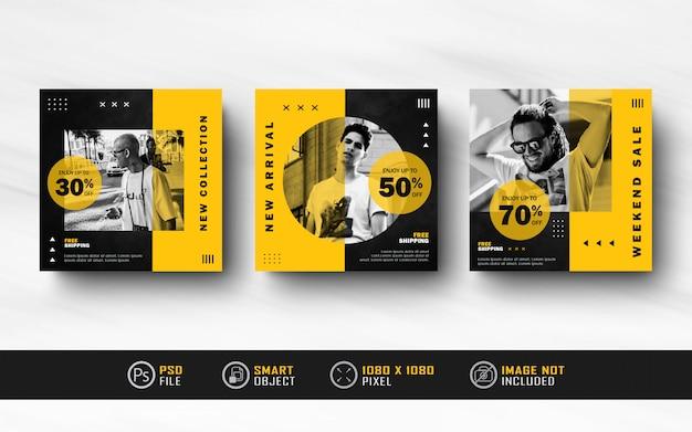 Czarny żółty Instagram Social Media Post Feed Banner Szablon Collection Premium Psd