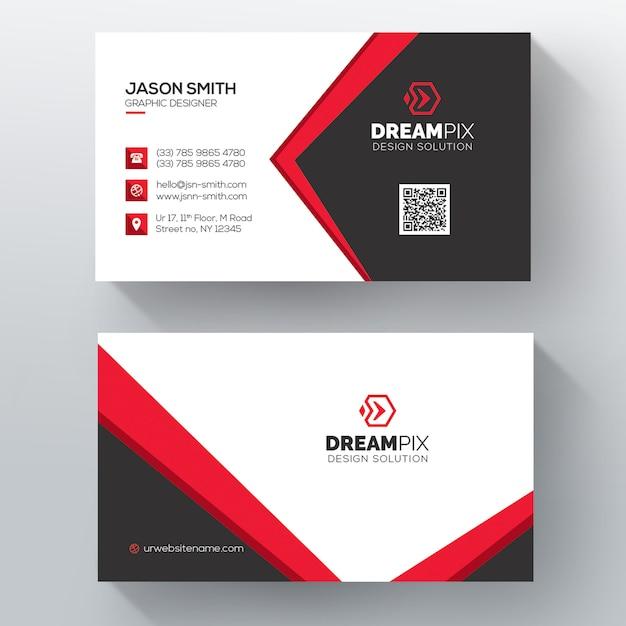 Czerwona elegancka karta firmowa Darmowe Psd