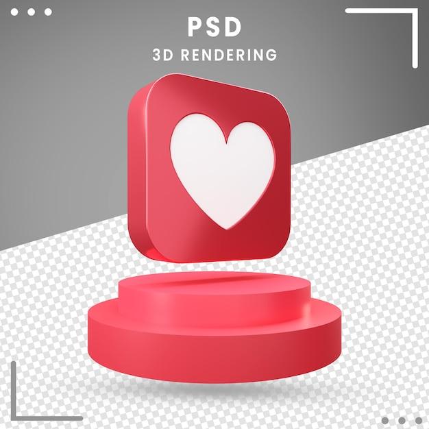 Czerwony 3d Obrócony Ikona Miłość Design Premium Psd