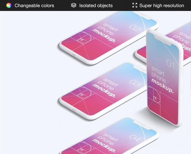 Czysty Szablon Aplikacji Smartfonów Z Dużym Kątem Ekranu Premium Psd