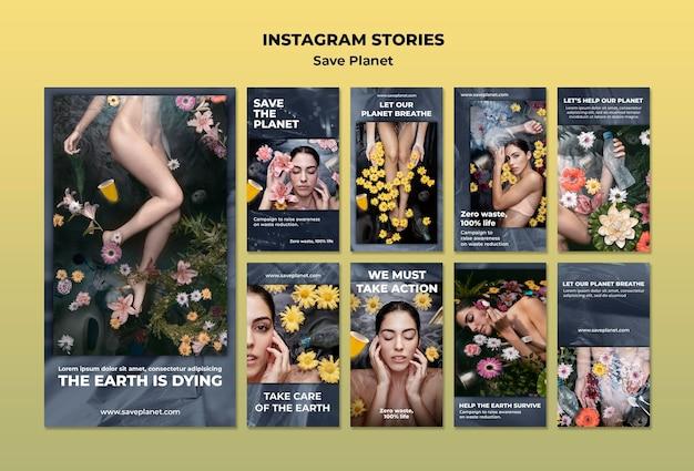 Dbaj O Historie Na Instagramie Dotyczące Ziemi Darmowe Psd