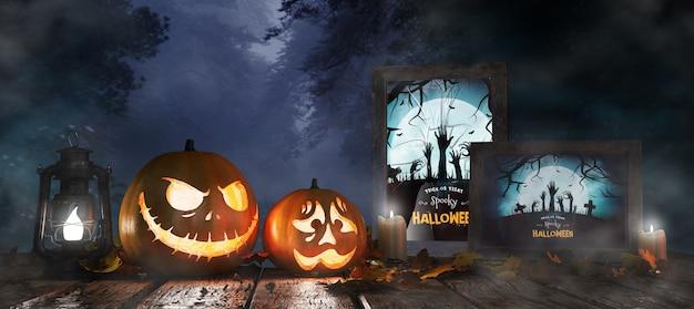 Dekoracja Na Halloween Z Oprawionym Plakatem Z Horrorem Premium Psd