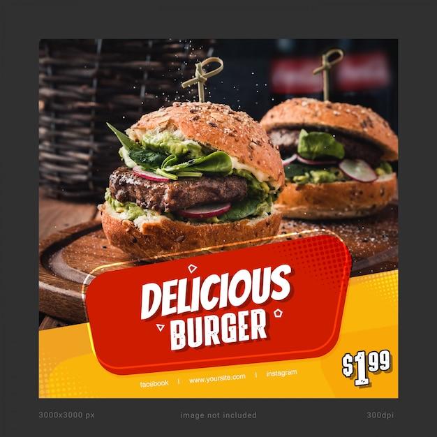 Delicious Burger Social Media Szablon Banner Premium Psd