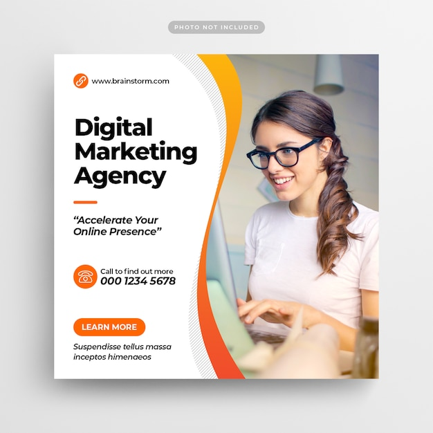 Digital Business Marketing Media Społecznościowe Post Banner & Square Flyer Premium Psd