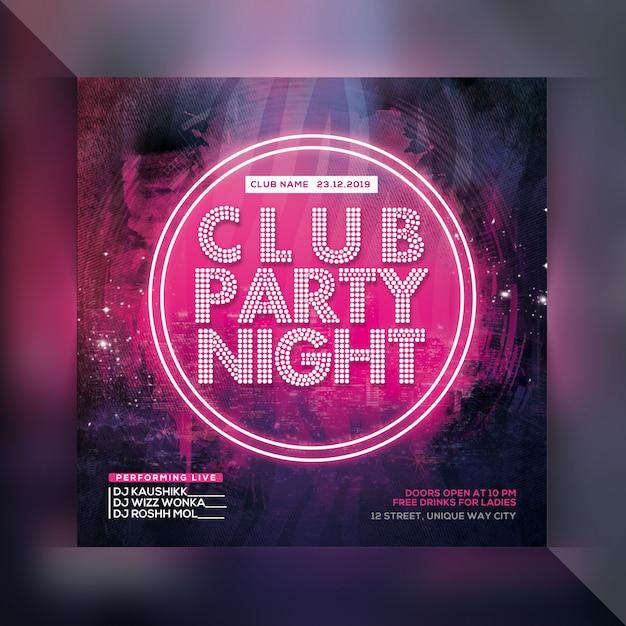 Dj club night party flyer Premium Psd