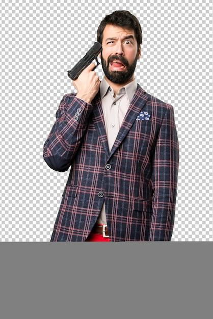 Dobrze Ubrany Mężczyzna Popełnia Samobójstwo Premium Psd