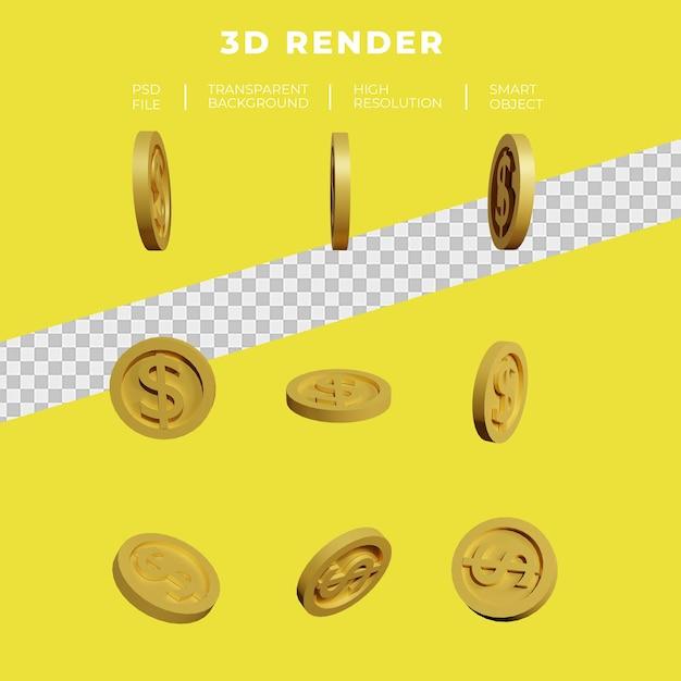 Dolar Monety Złota Renderowania 3d Zestaw Izolowanych Premium Psd