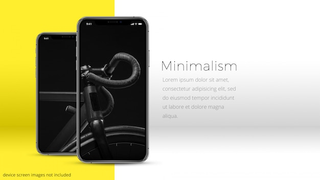 Doskonały iphone xs o dwóch pikselach w minimalnym pomieszczeniu, makieta uhd Premium Psd