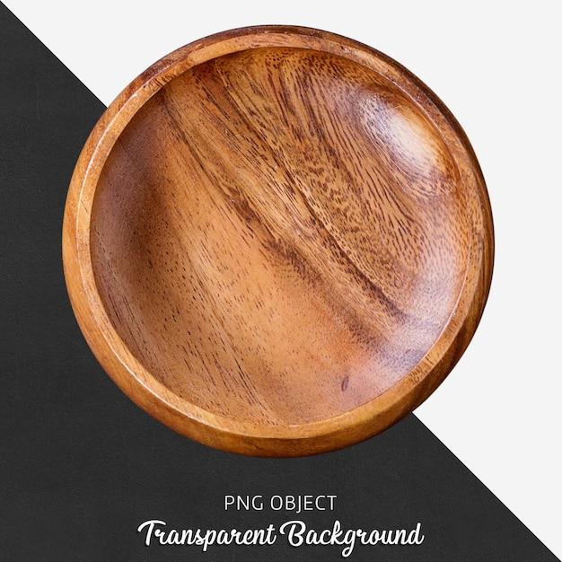 Drewniana okrągła porcja talerz na przejrzystym tle Premium Psd