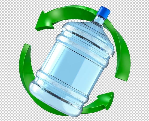 Duża Plastikowa Butelka Chłodnicy Wody W Zielonej Strzałki Symbol Odświeżania Premium Psd