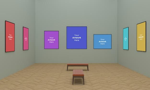 Duże Ramki Galerii Sztuki Muckup Ilustracja 3d I Renderowanie 3d Premium Psd