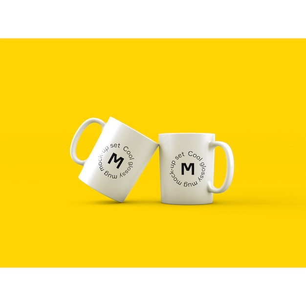 Dwa kubki na żółtym tle makieta Darmowe Psd