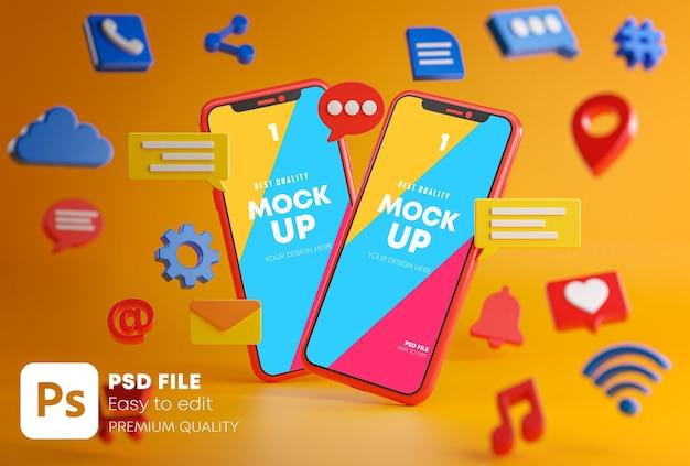 Dwa Smartfony Między Emotikonami Premium Psd