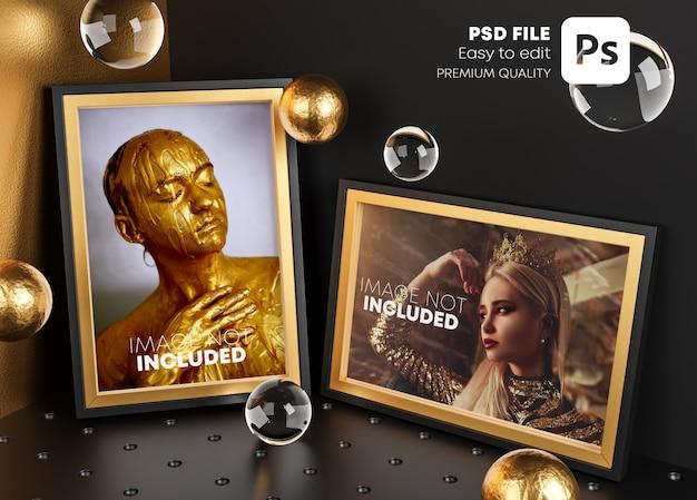 Dwie Złote Ramki Elegancki Makieta Plakat Szablon W Rogu Pokoju. Premium Psd