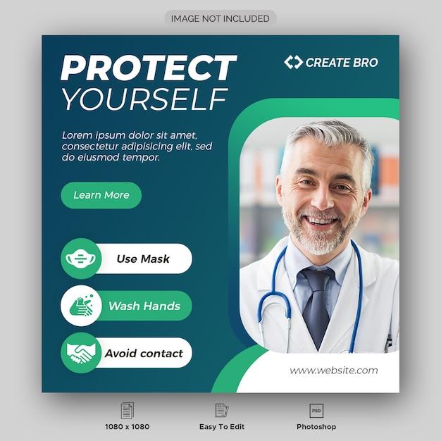 Dynamiczny Koronalny Wirus Media Społecznościowe Szablon Projektu Premium Psd