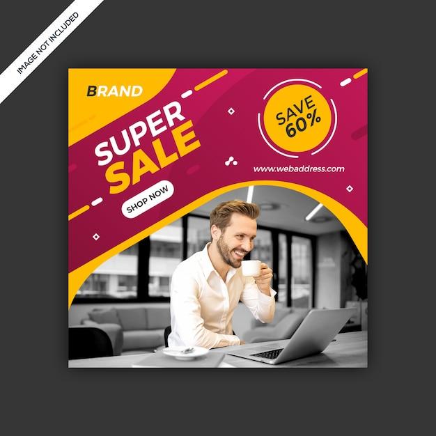 Dynamiczny Nowoczesny Portal Społecznościowy Post Sprzedaż Baner Premium Psd