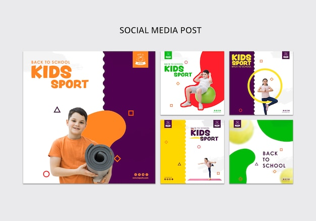 Dzieci sport szablon mediów społecznościowych Darmowe Psd