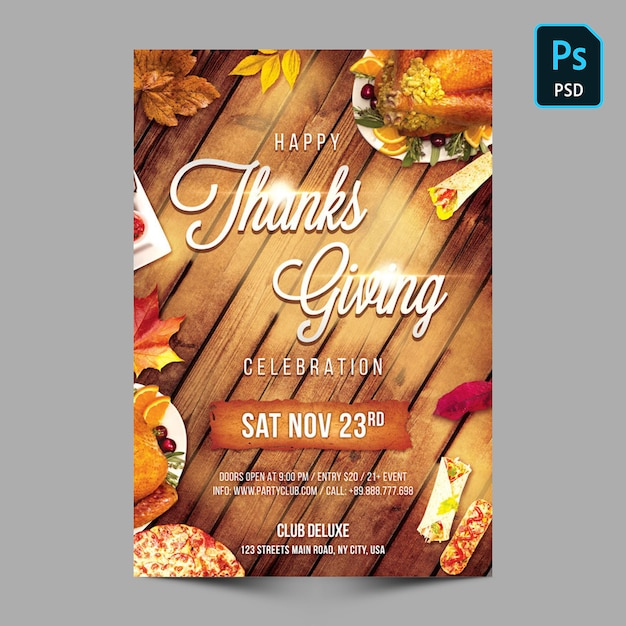 Dzięki giving party flyer or poster template Premium Psd