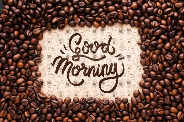 Dzień Dobry Tło Z Ramą Ziaren Kawy Darmowe Psd