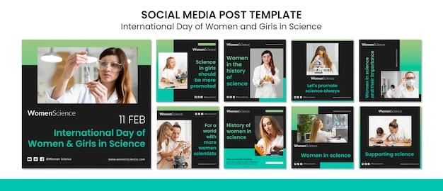 Dzień Kobiet I Dziewcząt W Postach Naukowych Na Instagramie Darmowe Psd