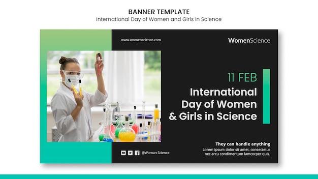 Dzień Kobiet I Dziewcząt W Szablonie Transparent Nauki Darmowe Psd