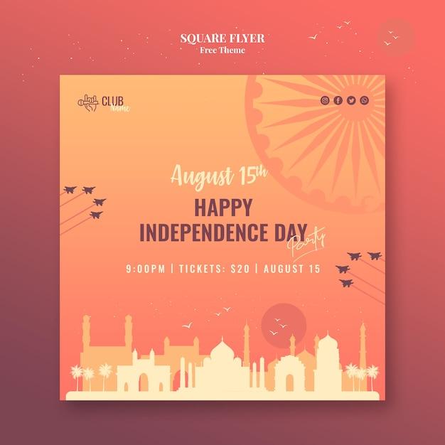 Dzień Niepodległości Kwadratowy Styl Ulotki Darmowe Psd
