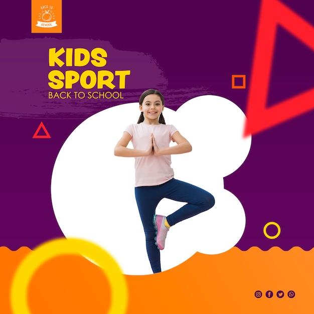 Dziewczyna równoważenia dla dzieci sport szablon Darmowe Psd