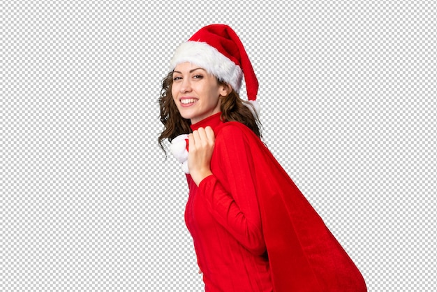 Dziewczyna W Kapeluszu Boże Narodzenie Trzyma Worek Pełen Prezentów Premium Psd
