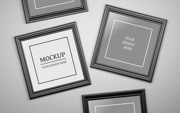 Edytowalna Makieta Psd Z Czterema Czarnymi Ramkami Do Zdjęć Premium Psd