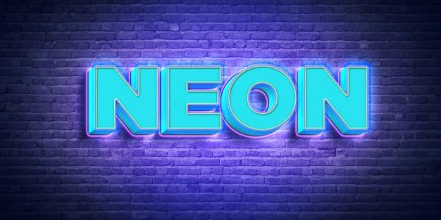 Efekt 3d blue neon text style Premium Psd