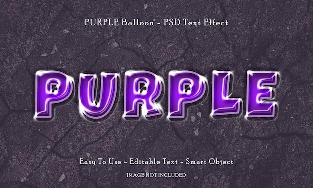 Efekt Tekstowy Purpurowego Balonu Premium Psd