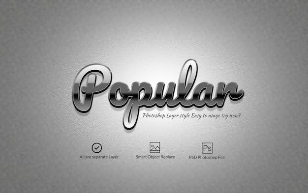Efekt Tekstowy Silver Glossy Photoshop Premium Psd
