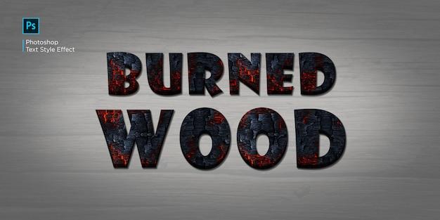 Efekt Tekstowy Spalonego Drewna Premium Psd