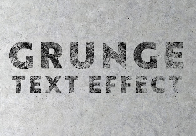 Efekt Tekstu Grunge Na Konkretne Tekstury Makieta Premium Psd