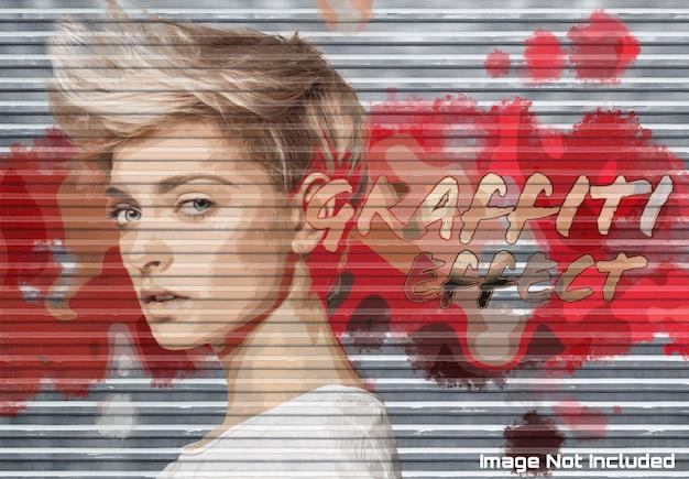 Efekt Zdjęcia Graffiti Na Fakturze Drzwi Garażowych Makieta Premium Psd
