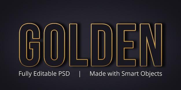Efekt Złotego Edytowalnego Stylu Tekstu Premium Psd