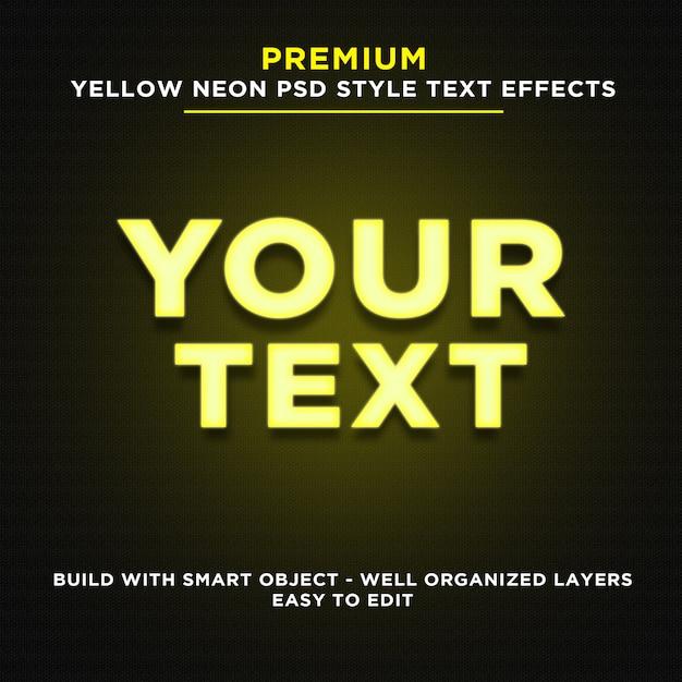 Efekty tekstowe w żółtym kolorze neonowym Premium Psd