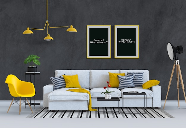 Egzamin próbny w górę plakat ramy w wewnętrznym żywym pokoju i kanapie, 3d odpłacają się Premium Psd