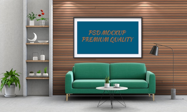Egzamin Próbny W Górę Plakatowej Ramy W Wewnętrznym żywym Pokoju I Kanapie, 3d Odpłaca Się Premium Psd
