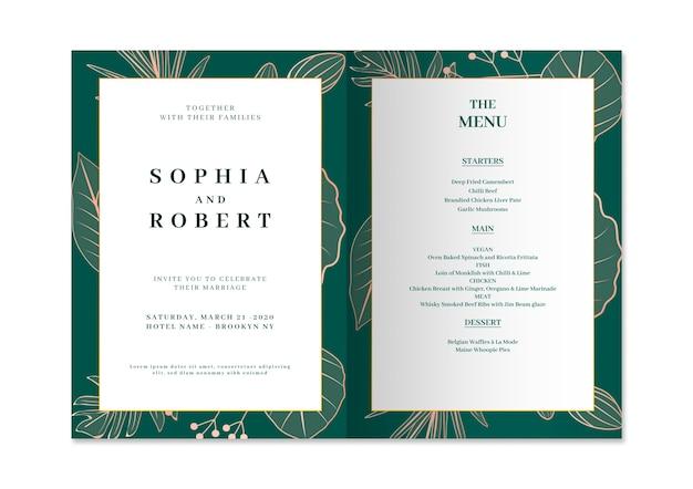 Elegancka karta zaproszenie na ślub z koncepcją przyrody Darmowe Psd