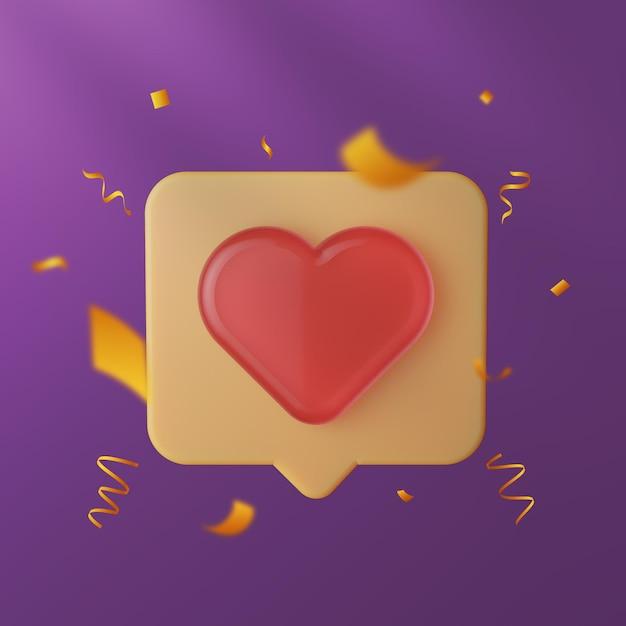 Elegancka Miłość Do Mediów Społecznościowych I Jak Ikona 3d Ze Złotym Konfetti Premium Psd