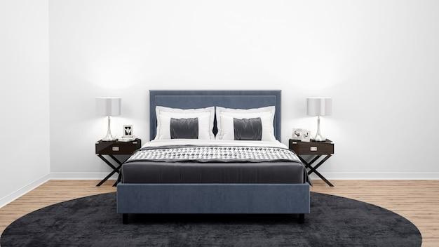 Elegancka Sypialnia Lub Pokój Hotelowy Z Podwójnym łóżkiem I Drewnianymi Meblami Darmowe Psd
