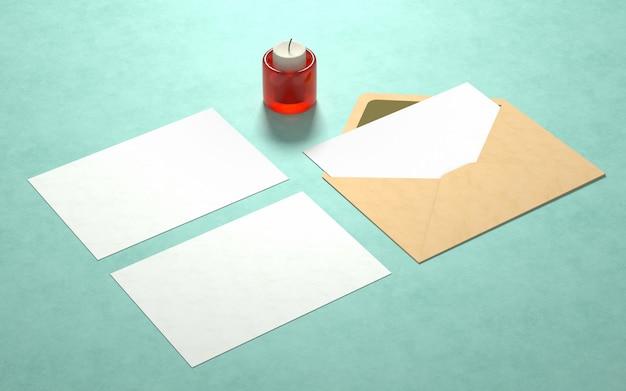 Eleganckie pocztówki makieta ze świecą Darmowe Psd